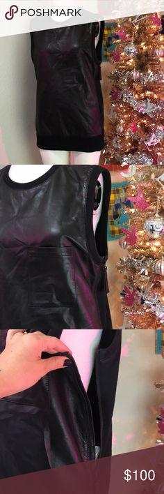 HELMUT LANG SZ S LAMB LEATHER VEST BLACK HELMUT Lang SZ s lamb leather vest 100% authentic Helmut Lang Jackets & Coats Vests