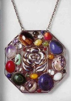 Pendant, Josef Hoffmann c. 1905, silver, gilt & semi-precious stones