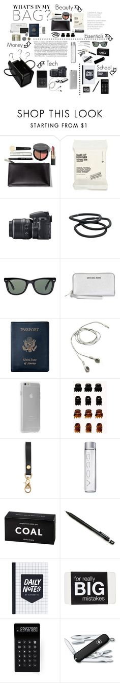 """What's In My Bag???"" by meghanfstjohn ❤ liked on Polyvore featuring moda, Victoria Beckham, Bobbi Brown Cosmetics, Comodynes, Chapstick, Nikon, Goody, Ray-Ban, Michael Kors e Royce Leather"