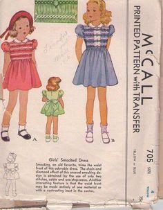 MOMSPatterns Vintage Sewing Patterns - McCall's 705 Vintage 30's Sewing Pattern SWELL Girls Shirley Temple Era Puff Sleeve, Tie Back School Smocked Dress, Smocking Transfer Size 4