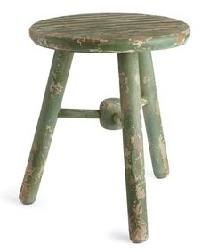 Cute, vintage inspired, rustic green stool / decor