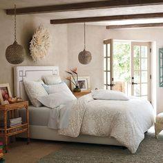 Pretty Bedroom, love the 2 Marmont Pendants