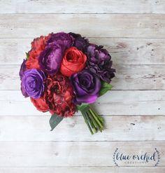 Peony Bouquet, Wedding Bouquet, Silk Peonies, Silk Flowers, Flower Arrangement, Purple Bouquet, Red Bouquet, Dark Bouquet, Vibrant Bouquet by blueorchidcreations on Etsy https://www.etsy.com/listing/463895340/peony-bouquet-wedding-bouquet-silk