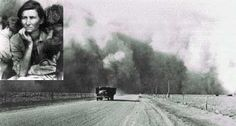 The Dust Bowl;period of severe dust storms causing major eco damage to American prairie in the 1930s.Caused by drought coupled w/decades of farming w/o crop rotation or cover crops to prevent erosion.100s of thousands were forced to leave their homes;known as 'Okies',since so many came from Oklahoma to California & other states where they found economic conditions little better than those they had left.Many became migrant workers who traveled to pick crops@starvation wages.