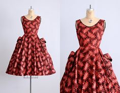 vintage 1950s dress  flocked taffeta dress  50s by PickledVintage, $258.00. I just never get sick of these style dresses.