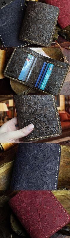 Handmade short leather wallet flowral leather short wallet for men