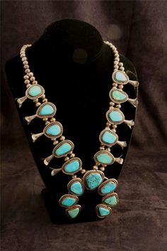 Large Amazing Vintage Sterling Silver and Turquoise Squash Bloom Necklace Native American Southwestern Jewelry, $475.00