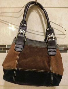 cc45c4983f Tignanello Suede Leather Handbag Satchel Shoulderbag Black Dk Brown  Lt  Brown  Tignanello