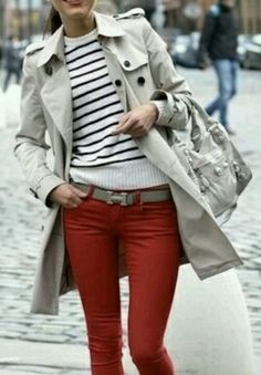 Stripes, Trenchcoat, Red Jeans           - Pretty NIce Style (PNS)