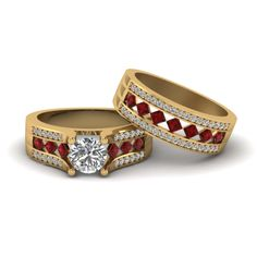 Pave And Kite Set Diamond Bridal  Round Cut Wedding Ring Sets with Red Ruby in 14K Yellow Gold exclusively styled by Fascinating Diamonds