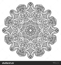 Black And White Geometric Mandala Background. Round Ornament Decoration, Isolated Design Element. Doodle Art For Coloring Book. Stock Vector Illustration 511911091 : Shutterstock