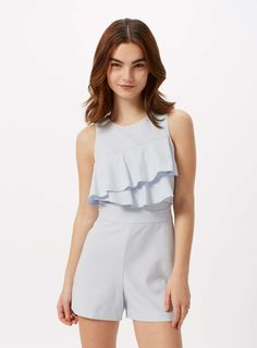 PETITE Ruffle Front Playsuit