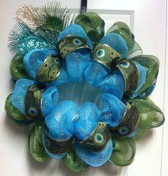 Peacock Deco Poly Mesh Wreath