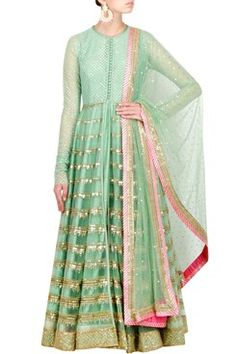 Anarkali, Seafoam Green Anarkali Jacket with Chandelier Embroidery
