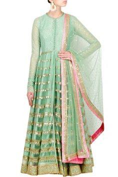 Anarkali, Seafoam Green Anarkali Jacket with Chandelier Embroidery