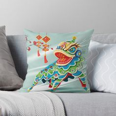 Chinese Holidays, Cool Headed, Chinese Greens, Blue Lion, Mid Autumn Festival, Designer Throw Pillows, Pillow Design, Sell Your Art, Blue Green