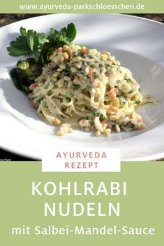 An ideal Ayurveda recipe for pitta types: kohlrabi noodles with sage almond . - An ideal Ayurveda recipe for pitta types: kohlrabi noodles with sage and almond sauce. For Pitta ty - No Dairy Recipes, Baby Food Recipes, Vegan Recipes, Salvia, Chou Rave, Nutrition, Detox Recipes, Clean Eating Recipes, Dinner