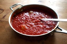 easy tomato sauce #tomato #sauce 2kg tomatoes - peel, chop coarsely; put in large pot (better with taller sides), add1onion cut in halves, 140 g (i gave bit less) butter, salt; cook/simmer for about an hour on very low heat......lovely