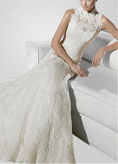 Glamorous Net  A-Line Illusion High Neckline  Wedding Dress With Lace Appliques