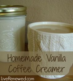 This stuff is great! Homemade Vanilla Coffee Creamer with real food ingredients from LiveRenewed.com