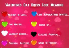 Valentine Week Dress Code Meaning of Colors Feb ideas Valentines Day 2020 Valentine Date Sheet, Valentines Day Dress Code, What Is Valentines Day, Valentine Day Week, Valentines Day Wishes, Valentine Special, Valentines Day Meaning, What Are Colours, Ideas