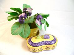 Yellow McCoy Flower Pot, Artificial Violets and Ceramic  Lavender Box with Lid (4 pieces)
