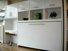Surprissing Glossy White Side Twin Size Murphy Beds Design Idea