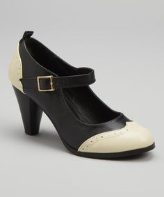 Take a look at this Chase & Chloe Black Wingtip Dora Mary Jane Pump on zulily today!