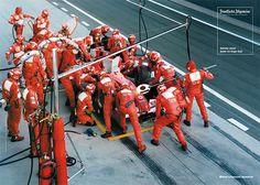 Der bekannteste lebende Deutsche, Formel-1-Rekord-Weltmeister Michael Schumacher beim Boxenstopp hinter der F.A.Z.    © Frankfurter Allgemeine Zeitung (FAZ) http://www.faz.net