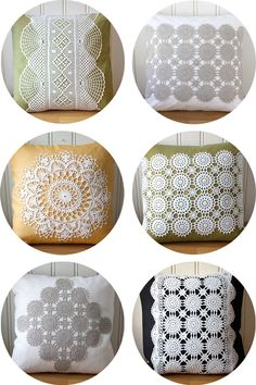 Recycled doilies as decoration on pillow, cushion Doilies Crafts, Lace Doilies, Crochet Doilies, Diy Pillows, Decorative Pillows, Throw Pillows, Crochet Cushions, Crochet Pillow, Doily Art