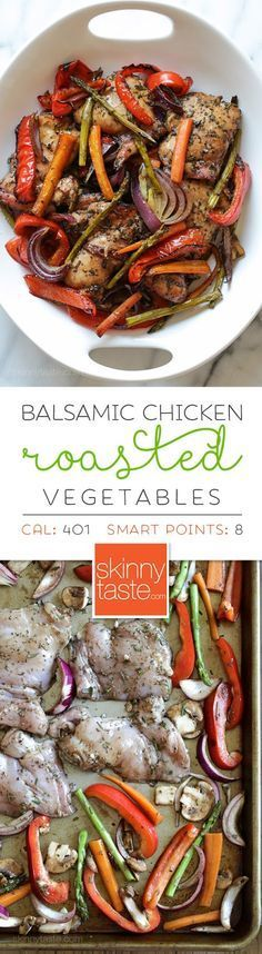 Balsamic Chicken with Roasted Vegetables –an easy, flavorful and low-carb sheet pan dinner! Smart Points: 8 Calories: 401