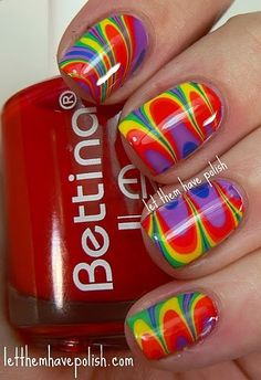 Rainbow Water Marble Colors Red  Orange Yellow Green Blue Indigo Violet