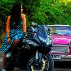 Life is about freedom!  #dreadlocks #bikerchick #suzuki #trabant #love #happyness