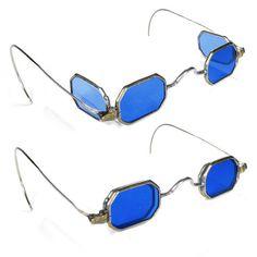 Antique CIVIL WAR Era  Cobalt Blue Tinted FLIP-Out Double Lense Spectacles, Ornate Frames $395. God these are amazing