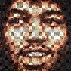 Jimi Hendrix portrait hama perler bead art by parlorparltavlorpyssel