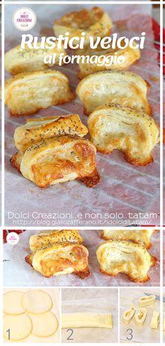 I Rustici veloci al formaggio sono degli sfiziosi e fragranti stuzzichini di pasta sfoglia, facilissimi e veloci da preparare. Con soli 4 ingredienti, potremo preparare degli irresistibili finger food che saranno perfetti da sgranocchiare in qualsiasi ora e saranno ideali come #aperitivo o per un #buffet rustico.  #rustici #pastasfoglia #formaggio #fingerfood #apericena #formaggio #cheese #puffpastry #ricetta #giallozafferano #food #foddie #stuzzichini #antipasto Antipasto, French Toast, Breakfast, Food, Morning Coffee, Essen, Appetizer, Meals, Yemek