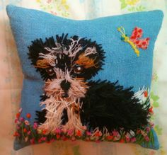 Freehand Embroidered  Pillow with Your Dog Medium Size. $45.00, via Etsy.