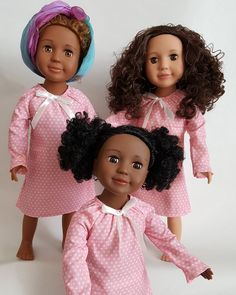 "Honey, Monica and Kayla the Curly Girls United Dolls! These high quality 18""dolls have the Most beautiful soft curls, a sweet faces and open/close eyes. On BrownEyedDolls.com now!"