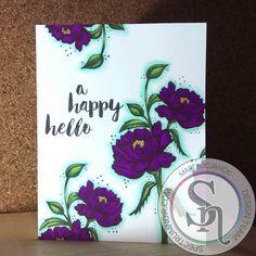 Designed by Mari Kocjancic Remembering You Blooms from Unity Stamp Co. , with Spectrum Noir Alcohol Markers OR1 CT2 DR7 PL5 PL4 DG4 DG3 DG2 BT2 BT1.#spectrumnoir #unitystamps #flowers #handmade #colouring