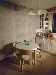 New paint (from Tikkurila), new floor (vinyl2cork), and some Finnish design (Artek) and eye candy (Aalto-vase) = my new kitchen