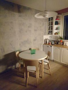 New paint (from Tikkurila), new floor (vinyl2cork), and some Finnish design (Artek) and eye candy (Aalto-vase) = my new kitchen
