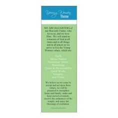 Bookmarks - YW Theme LDS : Young women theme bookmarks 6 for $1.98! Popcorn Tree, New Beehive, Individual Worth, Lds Youth, Party Stores, Cute Gifts, Young Women, Bookmarks, Righteousness