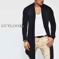 Avant Garde Designer Edge Mens Slim Open Shawl Long Jacket Cardigan by Guylook | eBay
