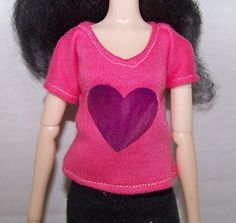 Pullip clothes - pink t-shirt with purple heart by FabriMagoDolls on Etsy