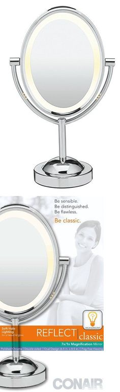 Makeup Mirrors: Conair Oval Shaped Double-Sided Lighted Makeup Mirror: 1X/7X Magnification BUY IT NOW ONLY: $34.99