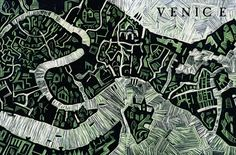 Abi Daker Linocut map of Venice