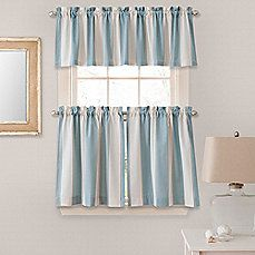 Bathroom: image of Lauren Stripe Window Curtain Tier Pairs and Valances in Blue