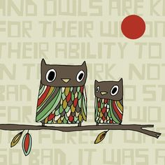 Hoot  Fine Art Print Owls by ArtByKellie on Etsy