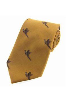 David Van Hagen Mens Horse Racing Tie and Cufflink Set Yellow