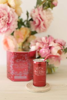 Sofia Mini Blanc de Blancs {our favorite bubbly wine which comes in a cute little can with its own pink straw...love!}